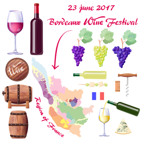 Bordeaux Wine Festival promotional poster with bottles and glasses, grapes bunches, France region map, tasty cheese and wooden barrels vector illustrations.