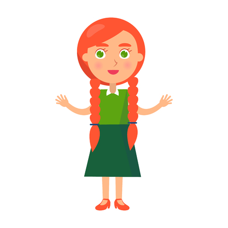 Little Redhead Girl with Wide Open Arms Isolated