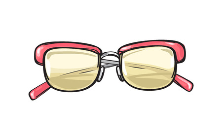 Fashionable eyeglasses with coral frame and yellowish lenses