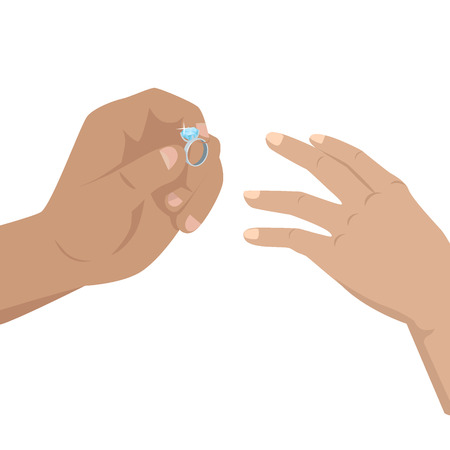 Man putting on woman s hand diamond ring with blue shiny stone. Vector illustration of wedding or betrothal isolated on white.
