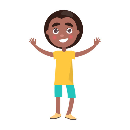 Happy little afro-american boy in yellow t-shirt celebrates international holiday for children. Global kids day poster with young black male in cartoon style
