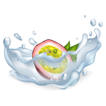 Exotic passion fruit on clean water with big splashes