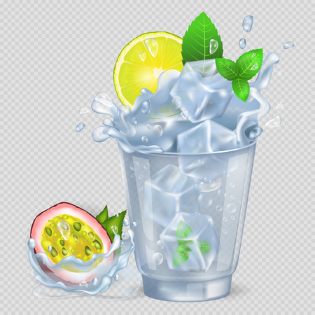Faceted glass with cocktail and ice, fresh lemon and green spearmint, passion fruit isolated vector illustration on transparent background. Çizim