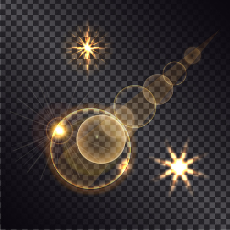 Distant burning bright star with illuminated road on night transparent background vector illustration of light effects cartoon style.