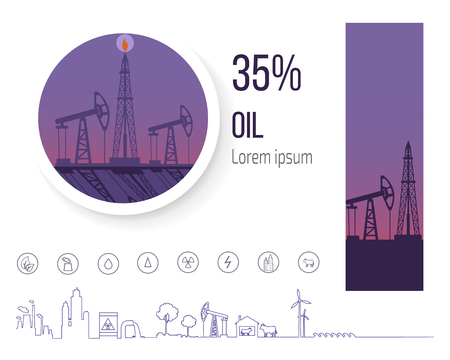 Oil Industry 35 Percent, Poster with Icons Vector Illustration