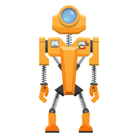 Yellow robot with springs on arms and legs and helmet with circular window vector illustration isolated on white background.
