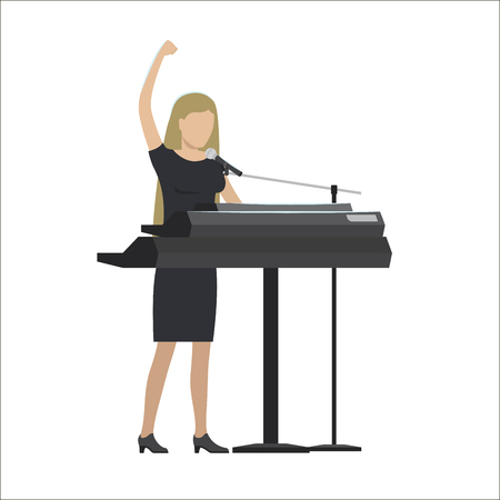 Woman playing a synthesizer vector illustration Illustration