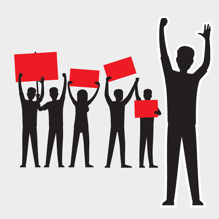 Cartoon adult people silhouettes with red streamers protesting