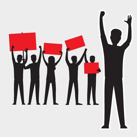 Silhouetten van beeldverhaal de volwassen mensen met het rode wimpels protesteren