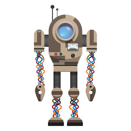 白の背景に丸い画面、小さなボタン、カラフルなワイヤーとアンテナを持つ機械ロボットトップ孤立ベクトルイラスト。  イラスト・ベクター素材