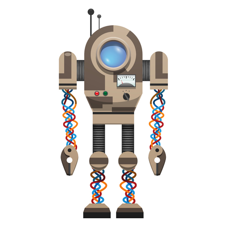 Mechanical robot with round screen, small buttons, colorful wires and antennas on top isolated vector illustration on white background.