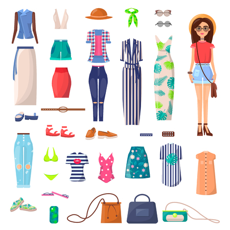 Modern girl with outfits set. Light dress, ripped jeans, chick costumes, bright swimsuits, convenient bags and stylish T-shirts vector illustrations.