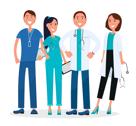 Medical workers standing and smiling isolated on white. Vector illustration of healthcare people with stethoscopes, qualified doctors