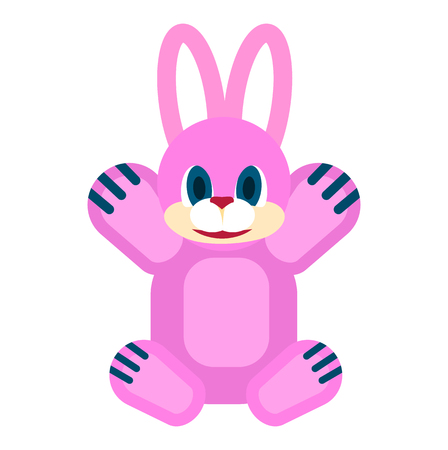 pillowy: Pink friendly rabbit with blue eyes and red nose soft toy for little children isolated vector illustration on white background. Illustration