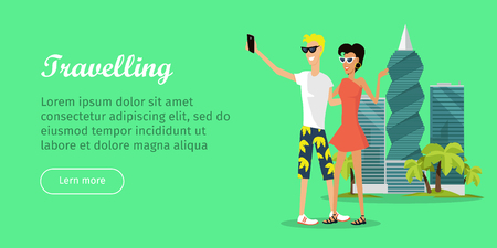 Travelling web banner in flat style. People making selfie on the background of skyscrapers. United Arab Emirates or OAE poster. Vector illustration