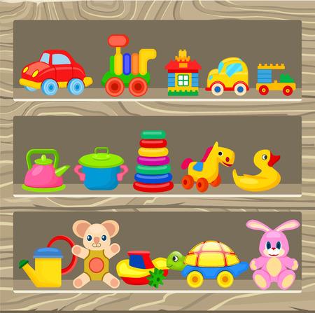 Kleine auto's, zacht en plastic speelgoed, constructeurs, rubbereend, kunstmatig kookgerei en gele gieter vectorillustraties.