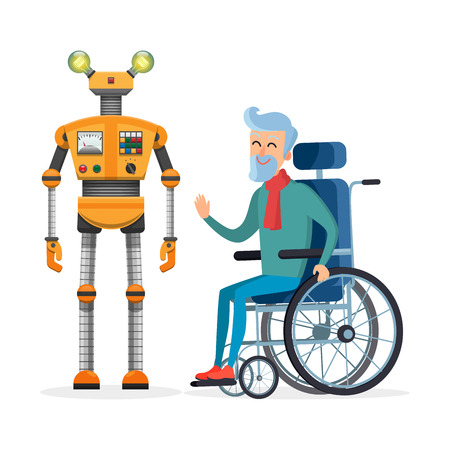 Yellow Robot Helps Disabled Person Vector