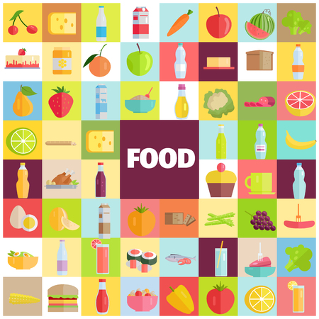 Tasty Food, Grocery Products and Refreshing Drinks Ilustração