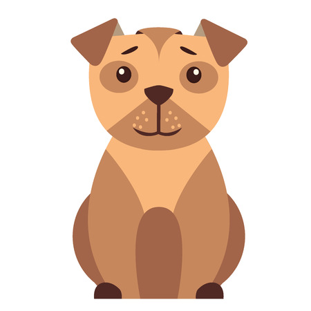 Cute Small Dog Cartoon Flat Vector Icon