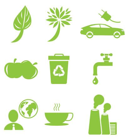 Ecologie groene pictogrammen collectie geïsoleerd op wit