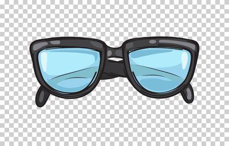 세련 된 검은 안경 프레임 그림 일러스트