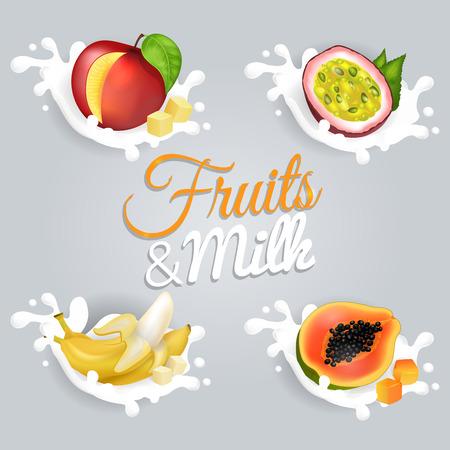과일과 우유 벡터 일러스트 세트