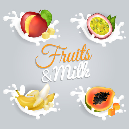 Fruits and Milk Vector Illustrations Set Illustration