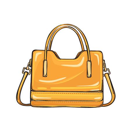 Trendy Glossy Orange Bag Isolated Illustration