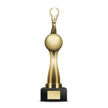 Gouden Trofee Kop Met Laurelkrans En Menselijk