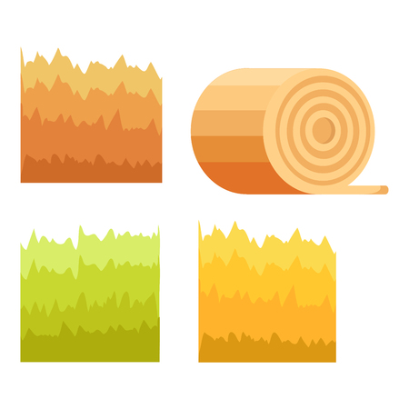 Green Grass, Yellow Stack of Hay, Stump of Tree