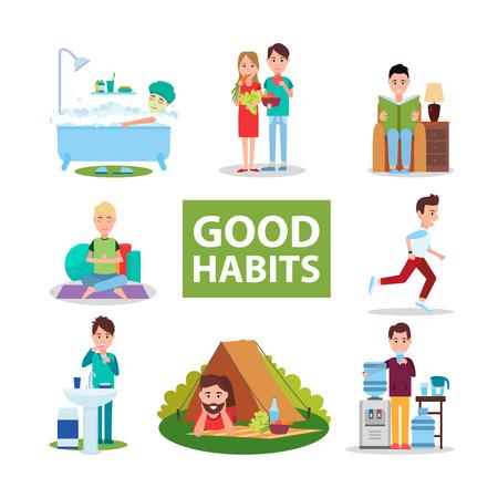 좋은 습관 포스터 (오른쪽의 캐릭터들과 함께)