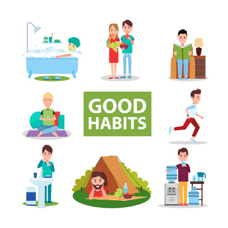 Good Habits Poster with Characters Who Do Right