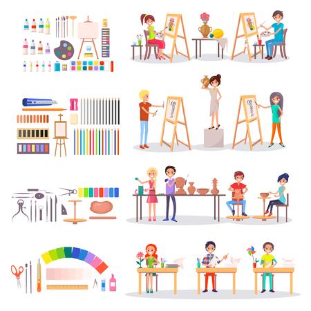 Kunstacademiestudenten en benodigdheden voor het maken van sets