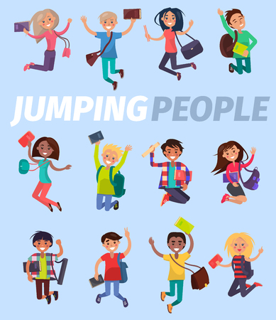 Jumping People Twelve Happy Students Flat Design