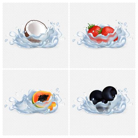 Coconut, Strawberry, Papaya, Blackberry in Water