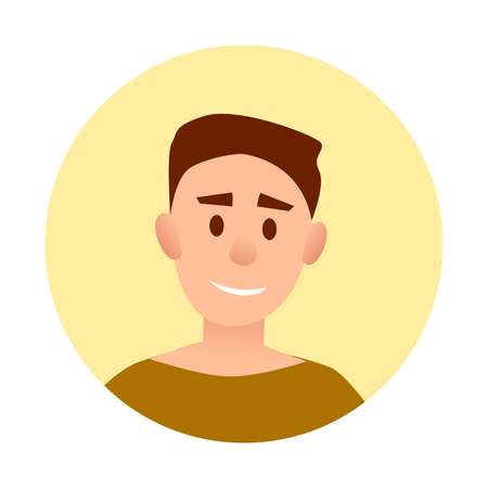 Teenager Handsome Boy with Broad Smile Avatar Illusztráció