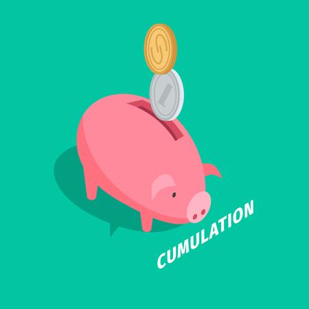 Money Accumulation Isometric Vector with Piggybank Illustration