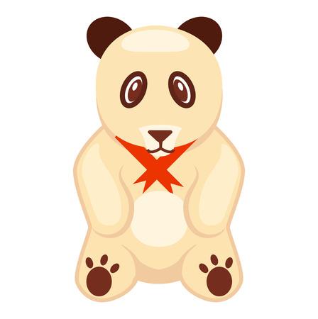 Zachte Toy Panda Beren Met Rode Lint Illustratie