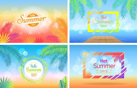 Hello Hot Summer Days Posters Set on Blurred Illustration