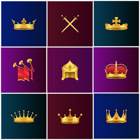 Royal Gold Medieval Attributes Illustrations Set Illustration