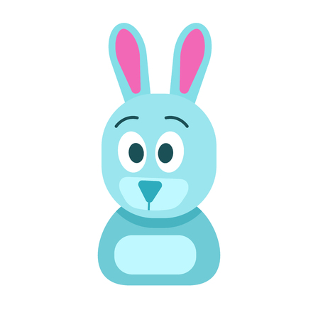 Blue Hare with Funny Face Isolated Illustration