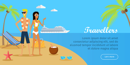 Travellers. Couple on Tropical Island. Vector
