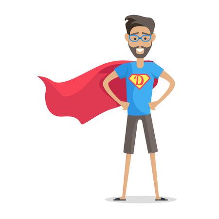 Superheld Daddy in Superhero Costume Stock Illustratie