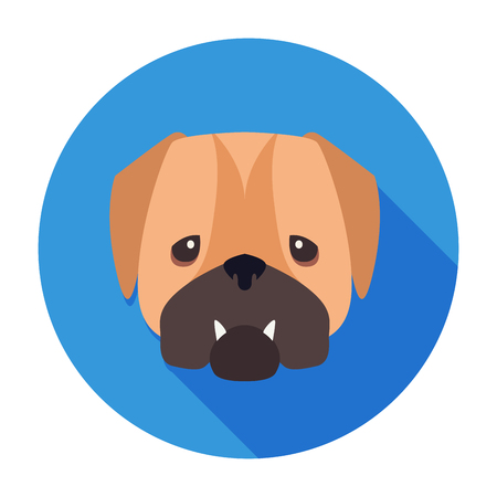 Wailful Muzzle of English Bulldog Drawn Art Icon Иллюстрация