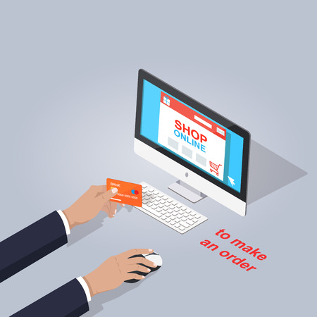 Make Order in Online Shop on Computer Flat Theme
