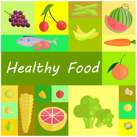 Healthy Organic Food Cartoon Illustrations Set
