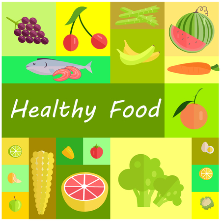 Healthy Organic Food Cartoon Illustrations Set