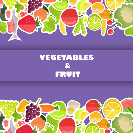 Healthy Food Banner with Fruits and Vegetables