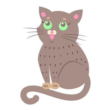 귀여운 고양이 만화 플랫 벡터 스티커 또는 아이콘