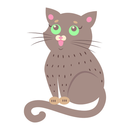 Cute cat Cartoon Flat Vector Sticker or Icon